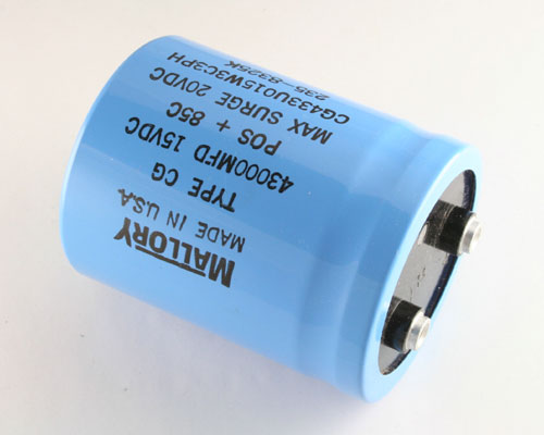 Picture of CG433U015W3C MALLORY capacitor 43,000uF 15V Aluminum Electrolytic Large Can Computer Grade