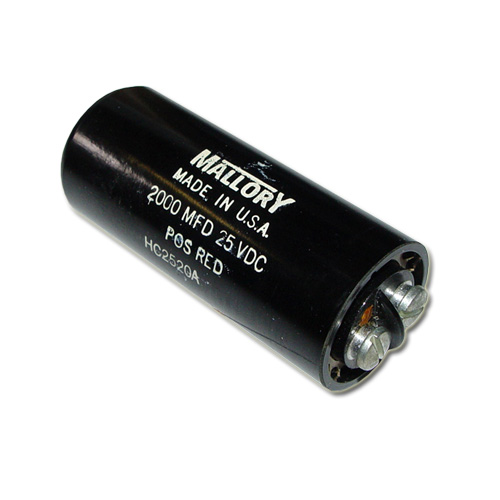 Picture of HC2520A MALLORY capacitor 2,000uF 25V Aluminum Electrolytic Large Can Computer Grade
