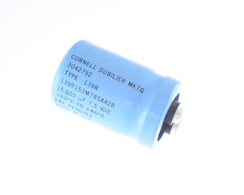Picture of 139R153M7R5AA2B Cornell Dubilier (CDE) capacitor 15,000uF 7.5V Aluminum Electrolytic Large Can Computer Grade