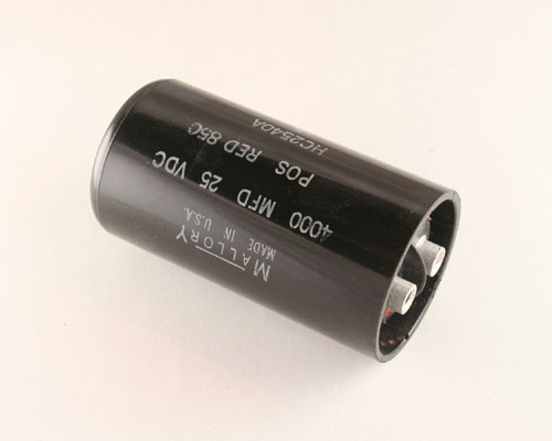 Picture of HC2540A MALLORY capacitor 4,000uF 25V Aluminum Electrolytic Large Can Computer Grade