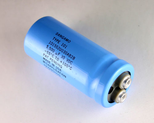 Picture of 101552U030AB2B SANGAMO-CDE capacitor 5,500uF 30V Aluminum Electrolytic Large Can Computer Grade High Temp