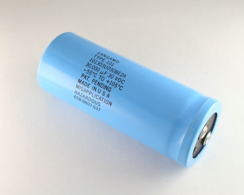 Picture of 101303U030BE2A SANG capacitor 30,000uF 30V Aluminum Electrolytic Large Can Computer Grade High Temp