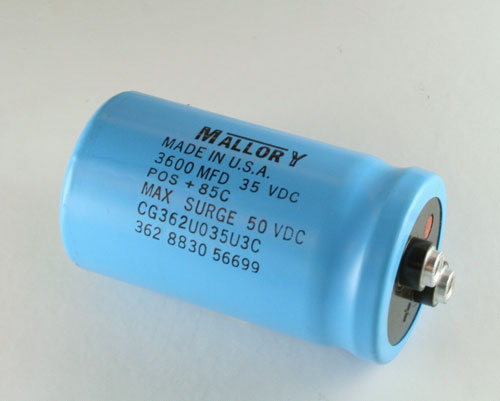 Picture of CGS362U035U3C MALLORY capacitor 3,600uF 35V Aluminum Electrolytic Large Can Computer Grade