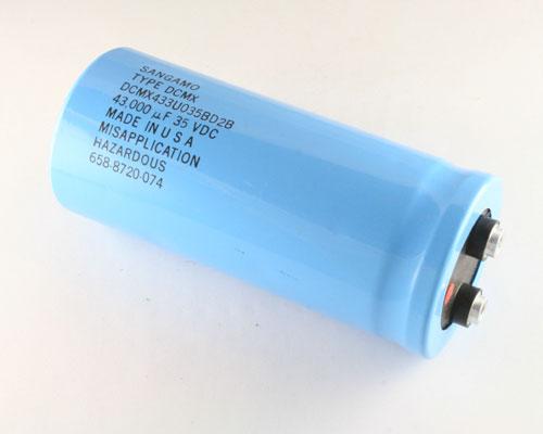 Picture of DCMX433U035BD2B SANGAMO capacitor 43,000uF 35V Aluminum Electrolytic Large Can Computer Grade