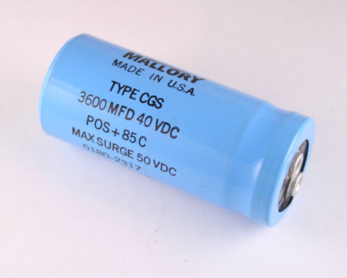 Picture of CGS362U040R3C MALLORY capacitor 3,600uF 40V Aluminum Electrolytic Large Can Computer Grade