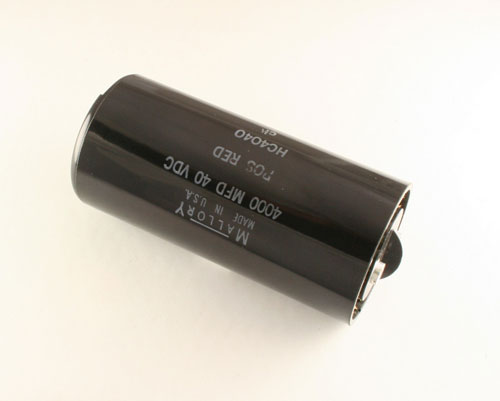 Picture of HC4040 MALLORY capacitor 4,000uF 40V Aluminum Electrolytic Large Can Computer Grade