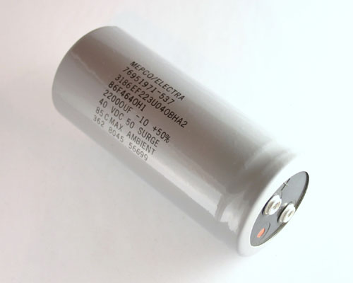 Picture of 3186EF223U040BHA2 MEPCO capacitor 22,000uF 40V Aluminum Electrolytic Large Can Computer Grade