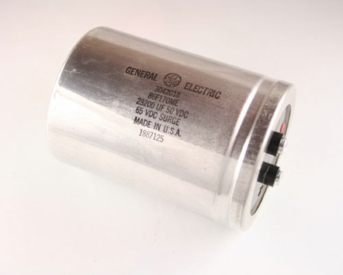 Picture of 86F170ME GE capacitor 23,200uF 50V Aluminum Electrolytic Large Can Computer Grade