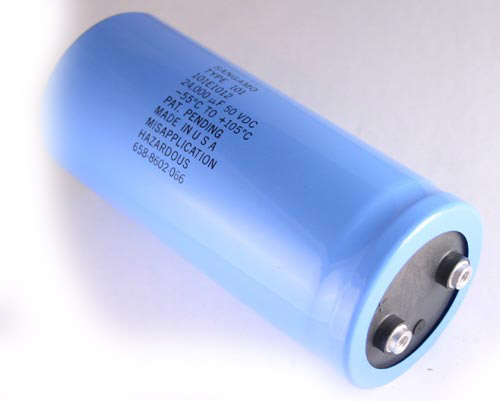 Picture of 101243U050CF2B SANG capacitor 24,000uF 50V Aluminum Electrolytic Large Can Computer Grade High Temp