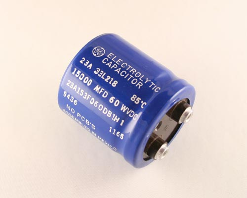 Picture of 23A153F060DB1H1 GENERAL ELECTRIC capacitor 15,000uF 60V Aluminum Electrolytic Large Can Computer Grade