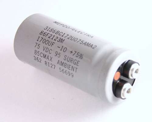Picture of 3186BC172U075AMA2 ME capacitor 1,700uF 75V Aluminum Electrolytic Large Can Computer Grade
