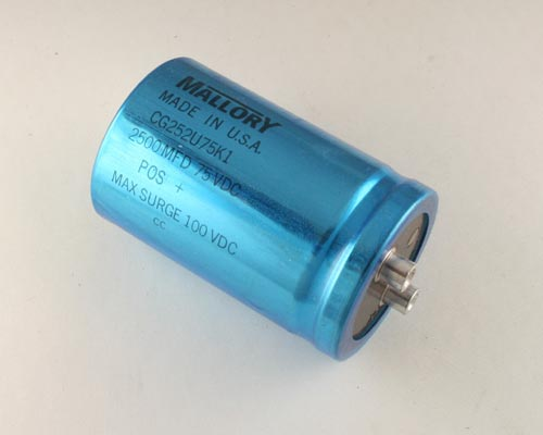 Picture of CG252U75K1 MALLORY capacitor 2,500uF 75V Aluminum Electrolytic Large Can Computer Grade