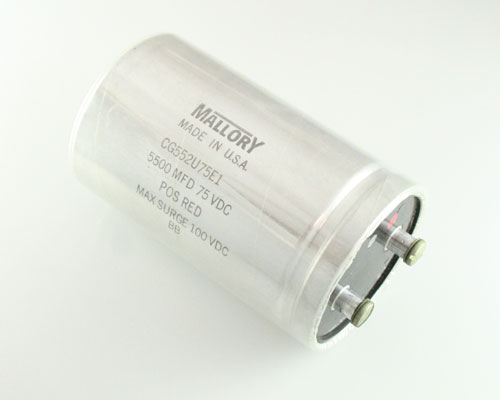 Picture of CG552U75E1 MALLORY capacitor 5,500uF 75V Aluminum Electrolytic Large Can Computer Grade