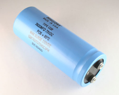 Picture of CGR762T075V5C3PH MALLORY capacitor 7,600uF 75V Aluminum Electrolytic Large Can Computer Grade