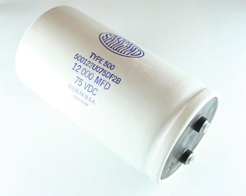 Picture of 500123U075DF SANGAMO capacitor 12,000uF 75V Aluminum Electrolytic Large Can Computer Grade
