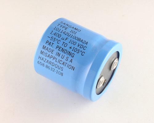 Picture of 101142U100BA2A SANG capacitor 1,400uF 100V Aluminum Electrolytic Large Can Computer Grade High Temp