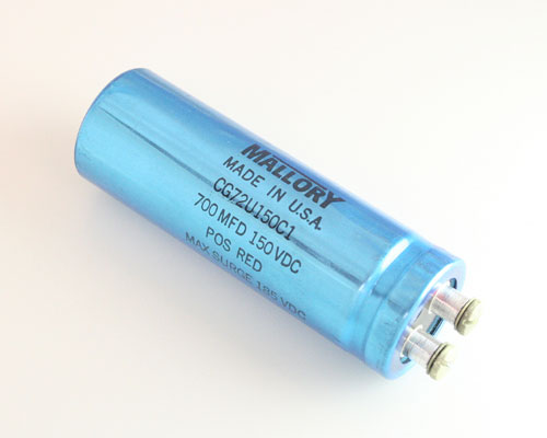 Picture of CG751U150C1 MALLORY capacitor 700uF 150V Aluminum Electrolytic Large Can Computer Grade