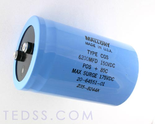 Picture of CGS622U150W5L MALLORY capacitor 6,200uF 150V Aluminum Electrolytic Large Can Computer Grade