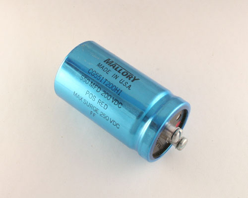 Picture of CG551T200H1 MALLORY capacitor 550uF 200V Aluminum Electrolytic Large Can Computer Grade