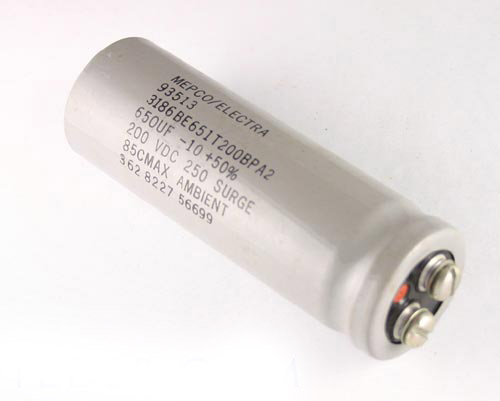 Picture of 3186BE651T200BPA2 PHILIPS capacitor 650uF 200V Aluminum Electrolytic Large Can Computer Grade