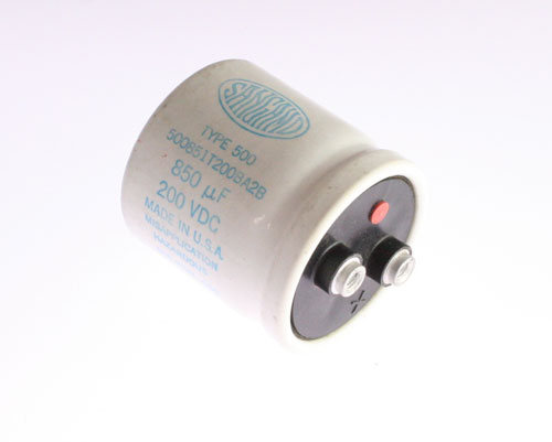 Picture of 500851T200BA2B SANG capacitor 850uF 200V Aluminum Electrolytic Large Can Computer Grade