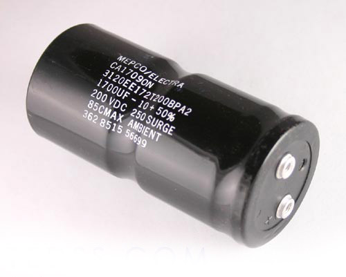 Picture of 3120EE172T200BPA2 MEPCO capacitor 1,700uF 200V Aluminum Electrolytic Large Can Computer Grade