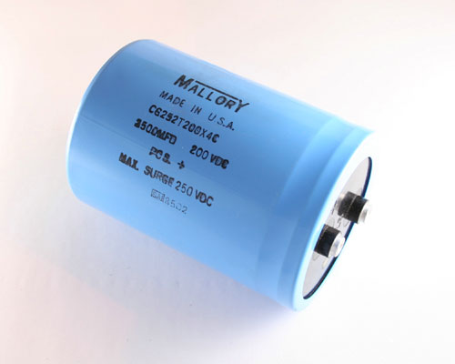 Picture of CG252T200X4C MALLORY capacitor 2,500uF 200V Aluminum Electrolytic Large Can Computer Grade High Temp