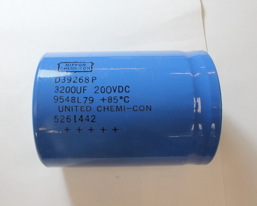 Picture of D39268P UNITED CHEMICON capacitor 3,200uF 200V Aluminum Electrolytic Large Can Computer Grade