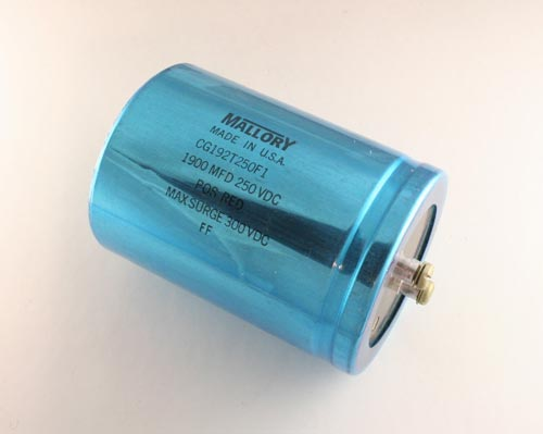 Picture of CG192T250F1 MALLORY capacitor 1,900uF 250V Aluminum Electrolytic Large Can Computer Grade