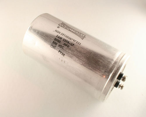 Picture of FAH1254 CDE capacitor 2,500uF 250V Aluminum Electrolytic Large Can Computer Grade