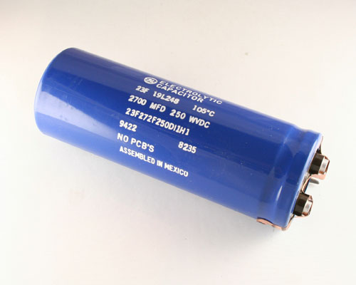 Picture of 23F272F250DI1H1 GE capacitor 2,700uF 250V Aluminum Electrolytic Large Can Computer Grade