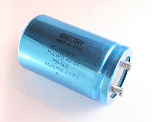 Picture of CG1151T300E1 MALLORY capacitor 1,150uF 300V Aluminum Electrolytic Large Can Computer Grade High Temp