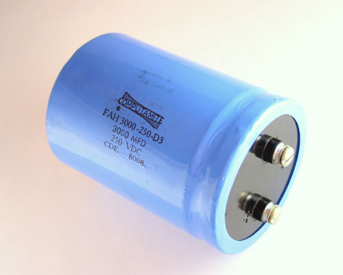 Picture of FAH3000-250-D3 CDE capacitor 3,000uF 250V Aluminum Electrolytic Large Can Computer Grade