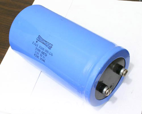 Picture of FAH3500-300-D6 CDE capacitor 3,500uF 300V Aluminum Electrolytic Large Can Computer Grade