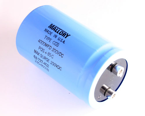 Picture of CGS402U200W4C MALLORY capacitor 4,000uF 200V Aluminum Electrolytic Large Can Computer Grade