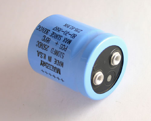 Picture of CGS511U250U2C MALLORY capacitor 510uF 250V Aluminum Electrolytic Large Can Computer Grade