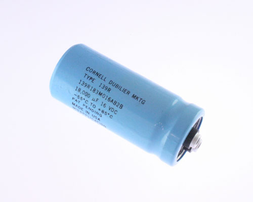 Picture of 139R183M016AB2B Cornell Dubilier (CDE) capacitor 18,000uF 16V Aluminum Electrolytic Large Can Computer Grade