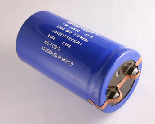 Picture of 23A222F350EG1H1 GENERAL ELECTRIC capacitor 2,200uF 350V Aluminum Electrolytic Large Can Computer Grade