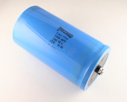 Picture of FAH2500-350-D6 CDE capacitor 2,500uF 350V Aluminum Electrolytic Large Can Computer Grade