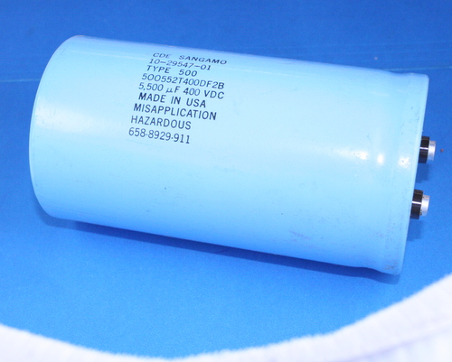 Picture of 500552T400DF2B SANGAMO capacitor 5,500uF 400V Aluminum Electrolytic Large Can Computer Grade