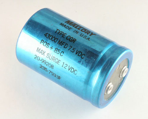 Picture of CGR433U7R5V3C MALLORY capacitor 43,000uF 7.5V Aluminum Electrolytic Large Can Computer Grade High Temp