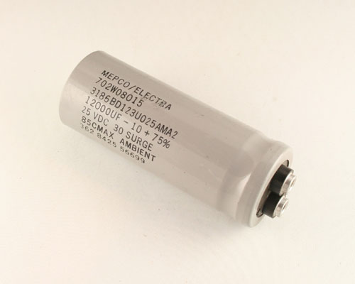 Picture of 3186BD123U025AMA2 MEPCO capacitor 12,000uF 25V Aluminum Electrolytic Large Can Computer Grade