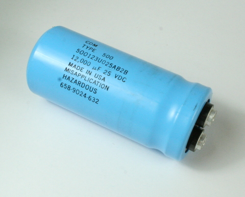 Picture of 500123U025AB2B CDE-SANGAMO capacitor 12,000uF 25V Aluminum Electrolytic Large Can Computer Grade