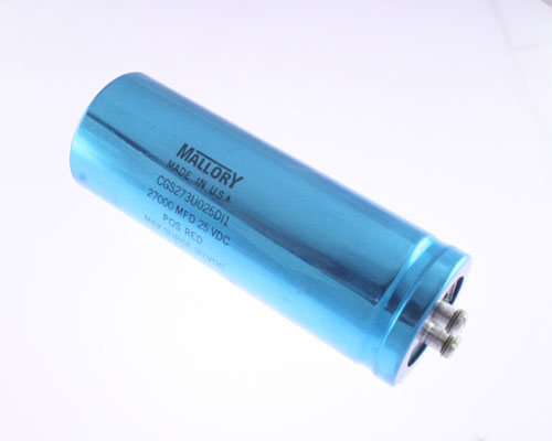 Picture of CGS273U025DI1 MALLORY capacitor 27,500uF 25V Aluminum Electrolytic Large Can Computer Grade