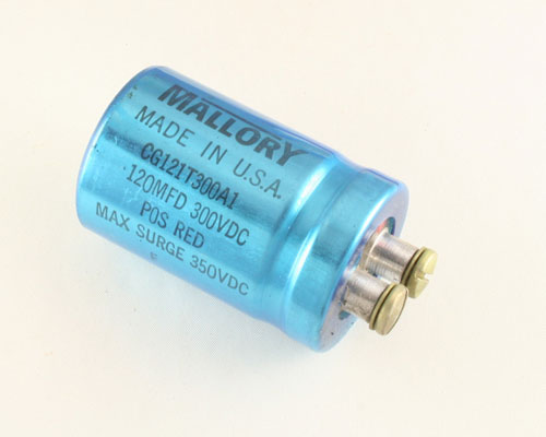 Picture of CG121T300A1 MALLORY capacitor 120uF 300V Aluminum Electrolytic Large Can Computer Grade