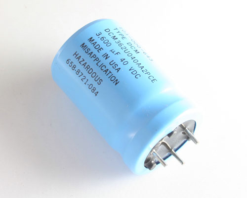 Picture of DCM362U040AA2PCE SANGAMO capacitor 3,600uF 40V Aluminum Electrolytic Large Can Computer Grade