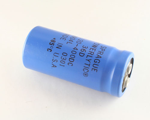 Picture of 36D121F400EB2A SPRAGUE capacitor 120uF 400V Aluminum Electrolytic Large Can Computer Grade