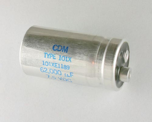 Picture of 101XE1189 Cornell Dubilier (CDE) capacitor 62,000uF 7.5V Aluminum Electrolytic Large Can Computer Grade