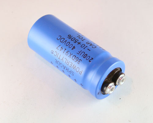 Picture of 36DX201F400AB2A SPRAGUE capacitor 200uF 400V Aluminum Electrolytic Large Can Computer Grade