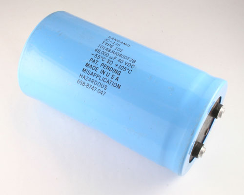 Picture of 101483U040DF2B SANG capacitor 48,000uF 40V Aluminum Electrolytic Large Can Computer Grade High Temp